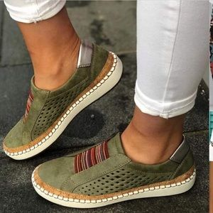 New Noracora olive green slip-on shoes